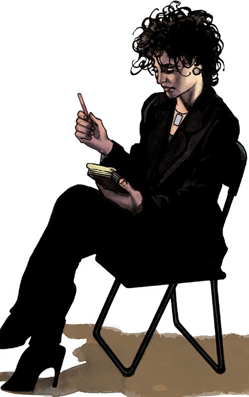 Agent Helen Helligan (7 Soldiers) (DC Comics) sitting taking notes