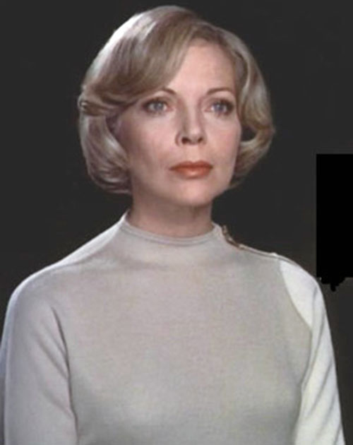 Dr. Helena Russell (Barbara Bain) (Space 1999) in a beige uniform