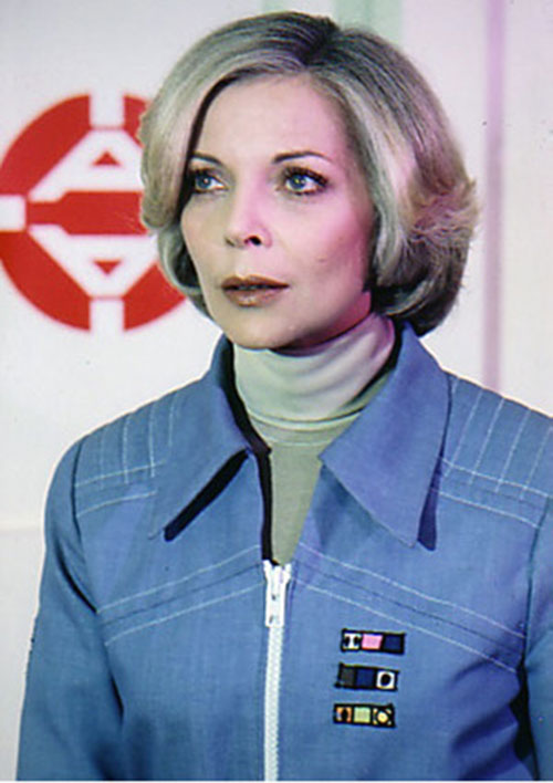 Dr. Helena Russell (Barbara Bain) (Space 1999) in a blue uniform