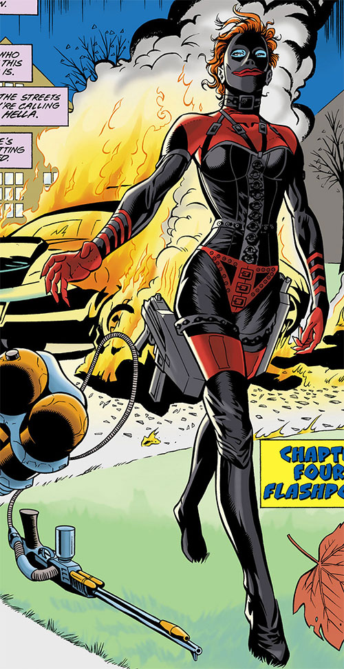 Hella (Nightwing enemy) (DC Comics) discarding a flamethrower