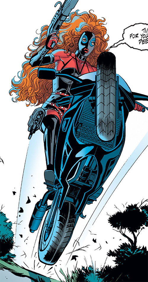 Hella (Nightwing enemy) (DC Comics) on her motorbike, jumping