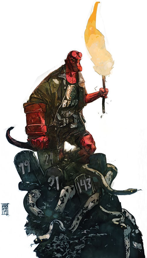 Hellboy (Dark Horse Comics by Mike Mignola) walking over large snakes with a torch