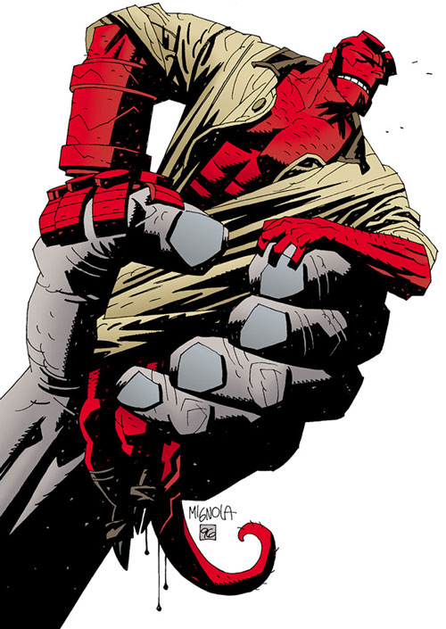 Hellboy (Dark Horse Comics by Mike Mignola) grabbed by a gigantic gray hand