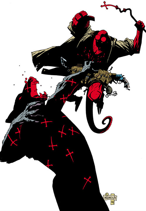 Hellboy (Dark Horse Comics by Mike Mignola) vs. a giant werewolf using a cross