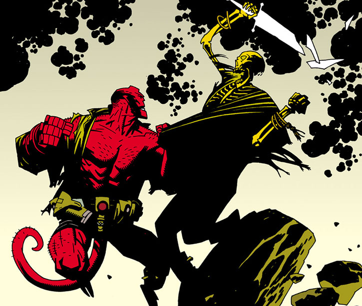 Hellboy (Dark Horse Comics by Mike Mignola) vs. a skeleton with a broken sword
