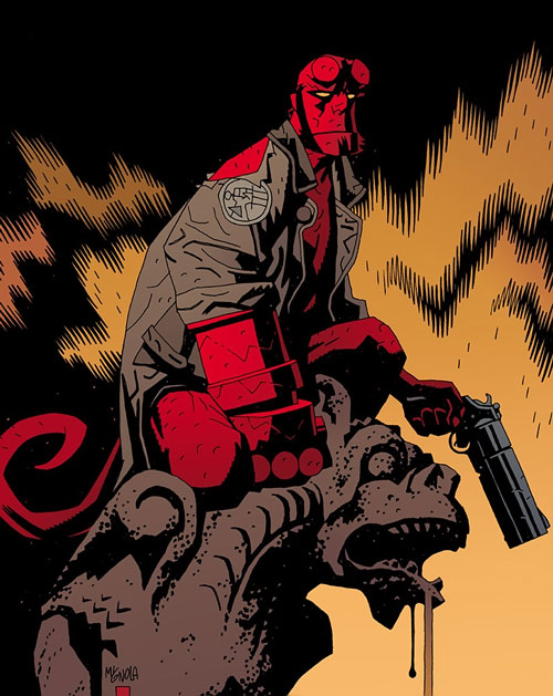 Hellboy (Dark Horse Comics by Mike Mignola) crouching on a gargoyle with his huge gun