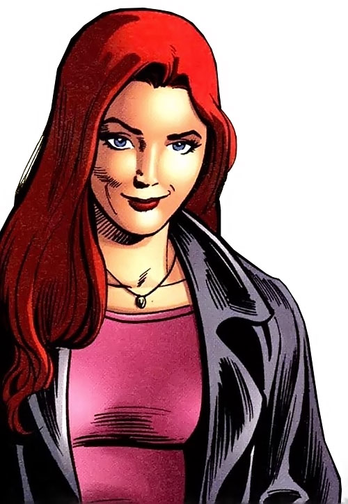 Hellcat (Patsy Walker) (Marvel Comics) in a leather jacket