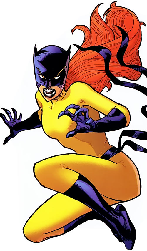 Hellcat (Patsy Walker) (Marvel Comics) in the yellow costume, leaping