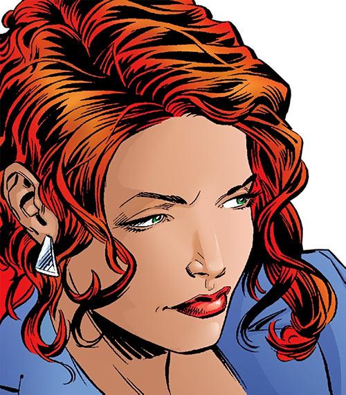 Hellcat (Patsy Walker) (Marvel Comics) face closeup with purple vest