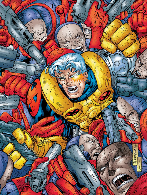 Hellfire Club (Marvel Comics) (Sebastian Shaw 1) - Cable beset by Hellfire mercenaries