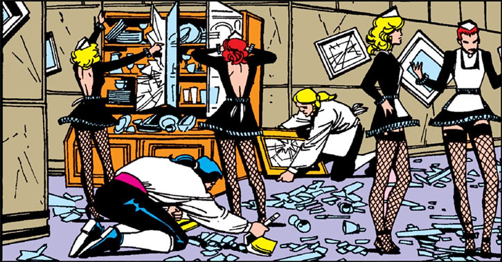 Hellfire Club (Marvel Comics) (Sebastian Shaw 1) - house staff cleaning up damage