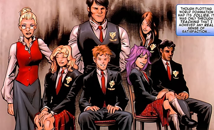 Emma Frost and her classic Hellions in school uniforms