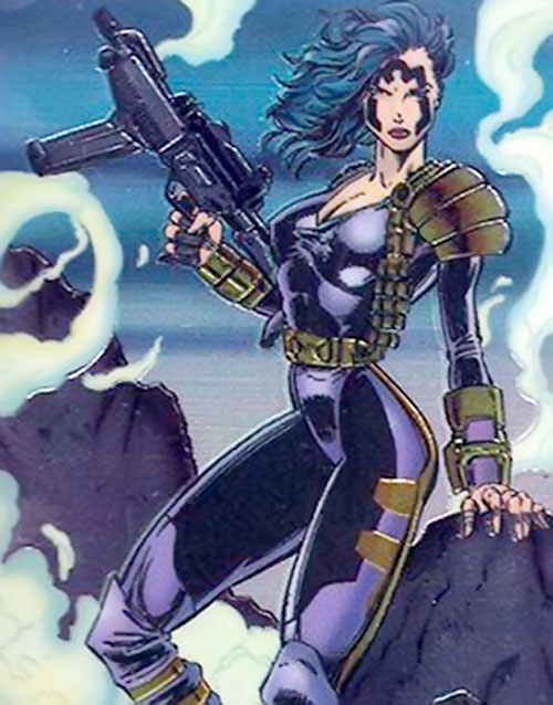 Hellslayer posing with a submachinegun (trading card)
