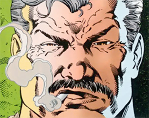 Henri Ducard (Batman character) (DC Comics) face and cigarette closeup