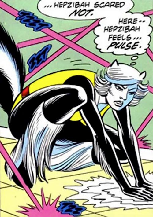 Hepzibah of the Starjammers (X-Men Marvel) dodging lasers