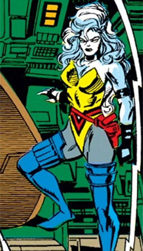 Hepzibah of the Starjammers (X-Men Marvel) in a yellow and gray suit