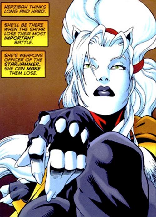 Hepzibah of the Starjammers (X-Men Marvel) pensive in fingerless gloves