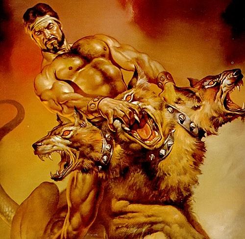 Hercules (mythology) - wrestling Cerberus 1970s fantasy art