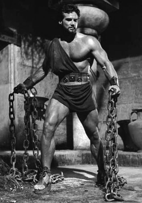 Hercules (mythology) - Steve Reeves holding large chains