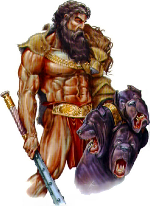 Hercules (mythology) - fantasy art with Cerberus