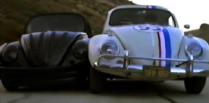 Herbie the love bug (Disney movies) racing the black evil beetle