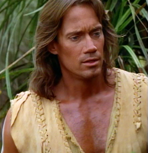 Hercules (Kevin Sorbo in Legendary Journeys) face closeup and plants