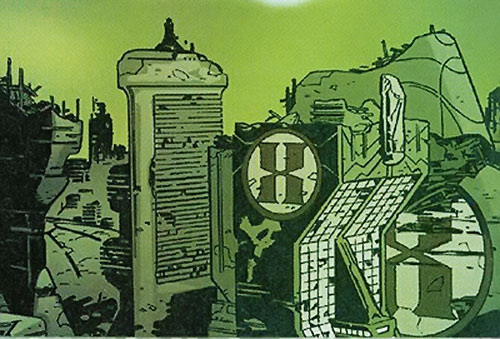 Hexus the Living Corporation HQ laying in ruins (Marvel Boy enemy) (Marvel Comics)