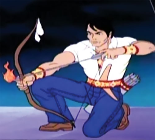 Hiawatha Smith (Spider-Man Amazing Friends cartoon) aiming bow with flaming arrow