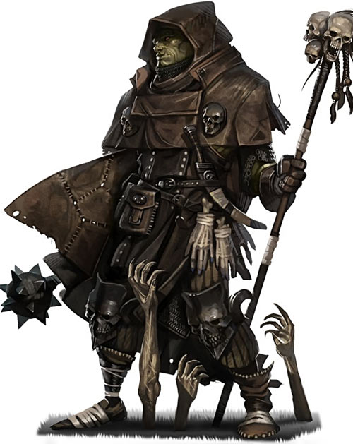 Orc cleric in hide armour (Pathfinder Ultimate Magic)