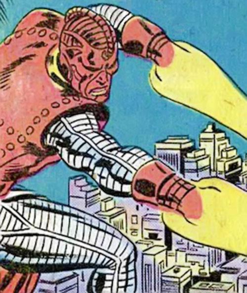 High Evolutionary (Marvel Comics) firing energy beams above the city