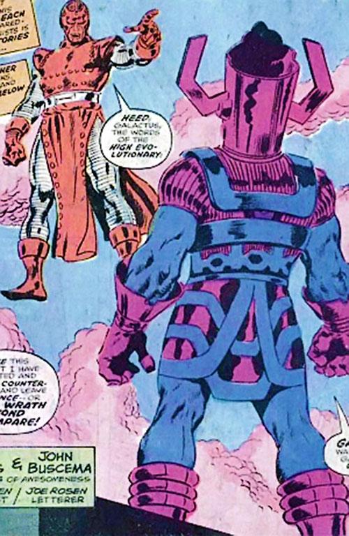 High Evolutionary (Marvel Comics) facing Galactus