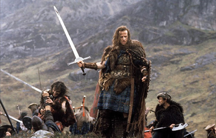 Connor McLeod (Christophe Lambert) with a claymore, and other highlanders