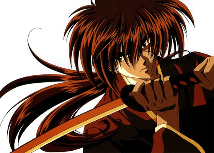Himura Kenshin (Rurouni Kenshin) with sword raised under chin