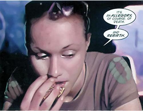 Fury (Lyta Hall) (DC Comics) face closeup with gray T-shirt