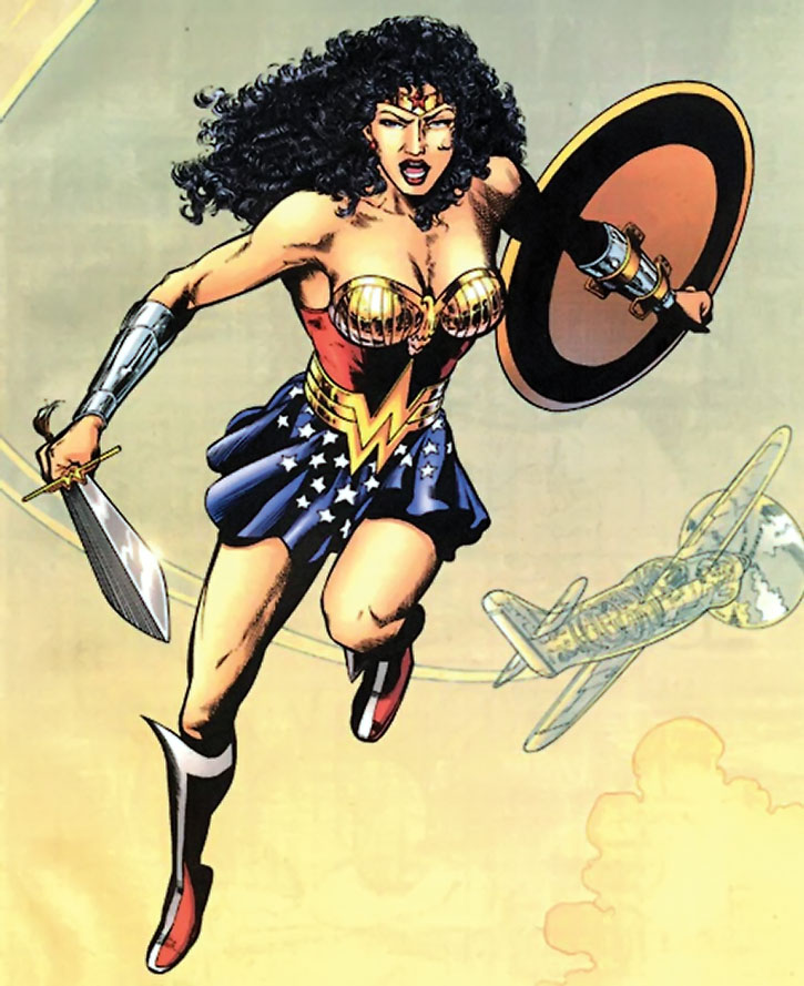Wonder Woman (Queen Hippolyta) jumps from her invisible plane