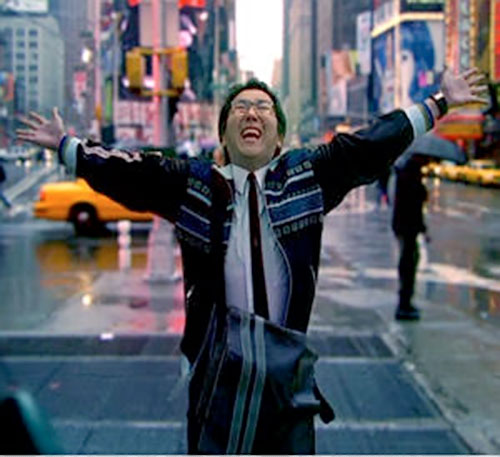Hiro Nakamura (Masi Oka in Heroes) exulting in Times Square