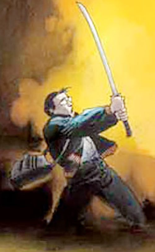 Hiro Nakamura (Masi Oka in Heroes) art with sword and nuclear explosion