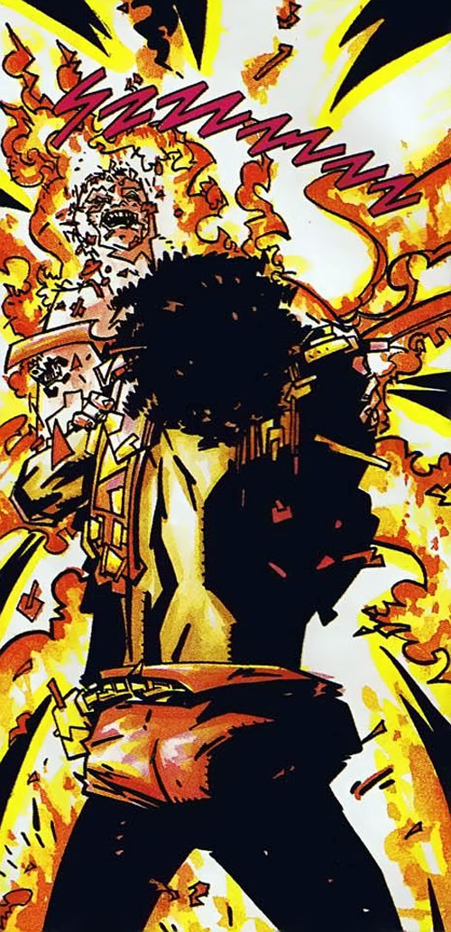 Holocaust (Blood Syndicate character) (Milestone Comics) incinerating a man
