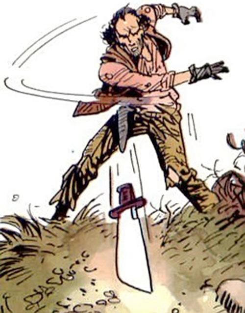 Hombre (Segura & Ortiz) throwing a knife