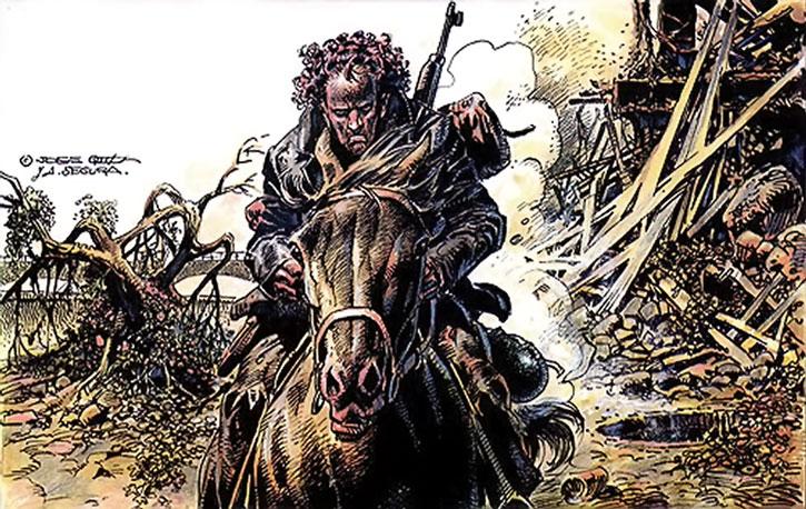 Hombre rides across the ruins