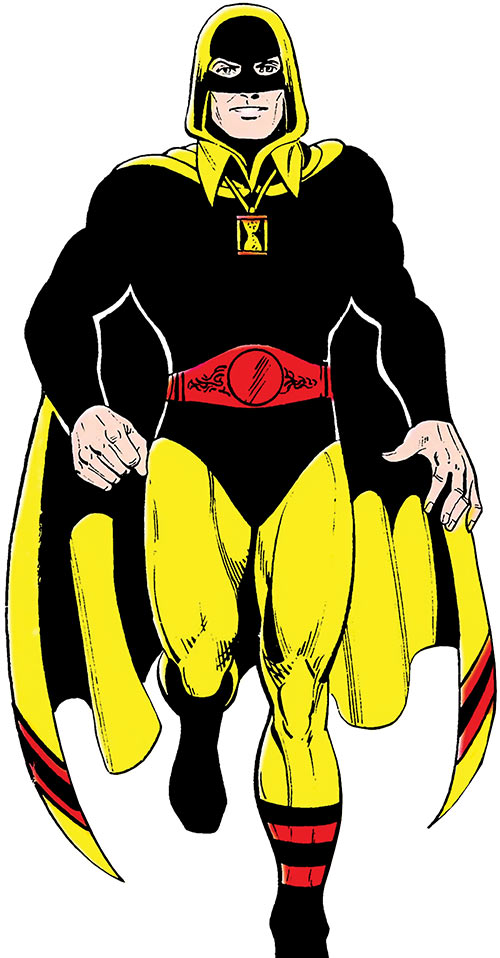 Hourman (Rex Tyler) walking over a white background