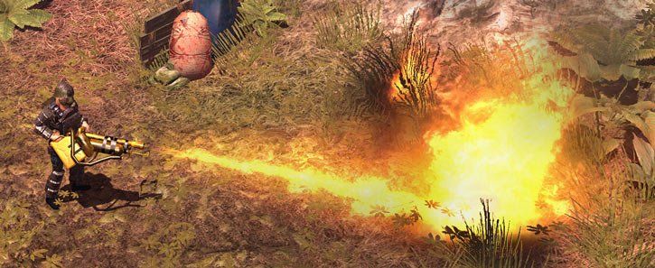Nina in the How To Survive video game, with armour and flamethrower