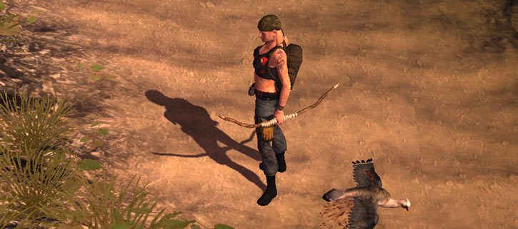 Nina in the How To Survive video game, with a bow