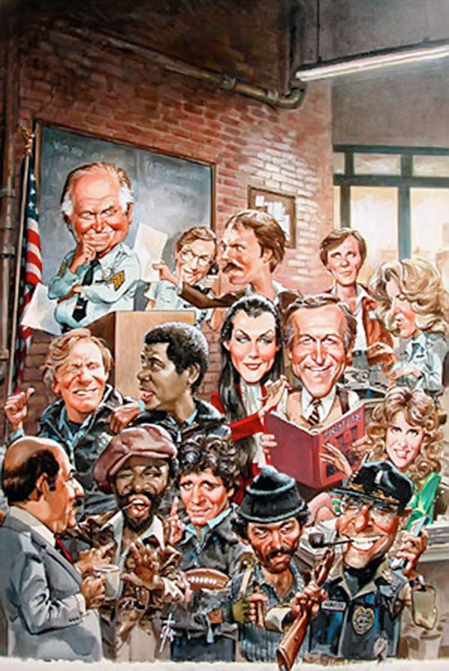 Mad-style drawing of the Hill Street Blues cast