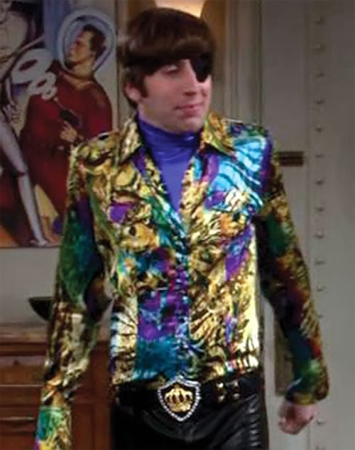 Howard Wolowitz (Simon Helberg in Big Bang Theory) with an eye patch and sequinned shirt