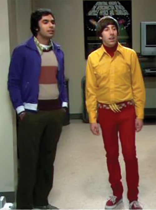 Howard Wolowitz (Simon Helberg in Big Bang Theory) in red and yellow, with Rajesh