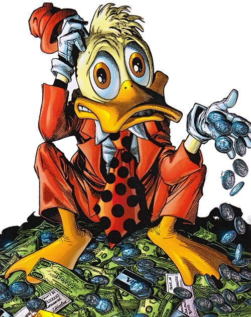 Howard the Duck (Marvel Comics) sitting on a pile of money looking embarassed