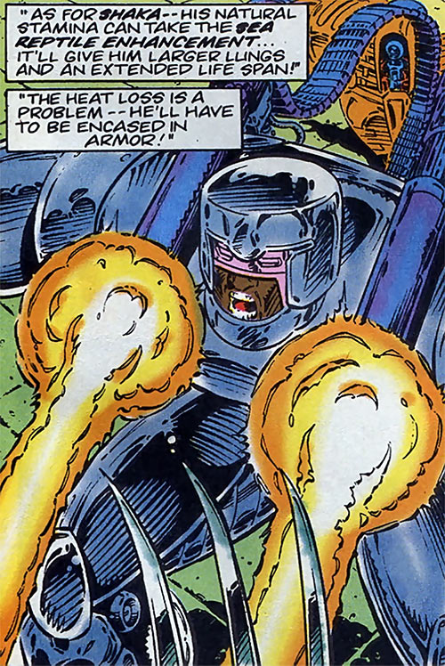 Howitzer of the Gene Dogs (Marvel Comics UK) using his shoulder guns