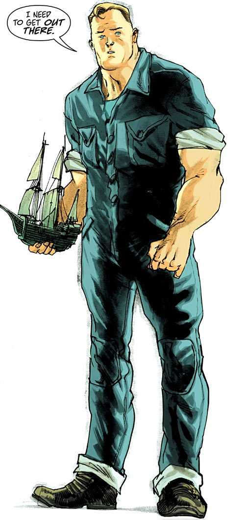 Huck (Image Comics) (Mark Millar) with a model sailboat in hand