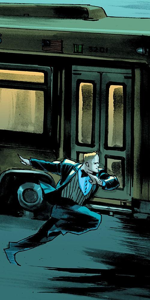 Huck (Image Comics) (Mark Millar) racing a bus in a tux